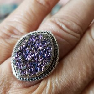 Drusy and Sterling Silver ring